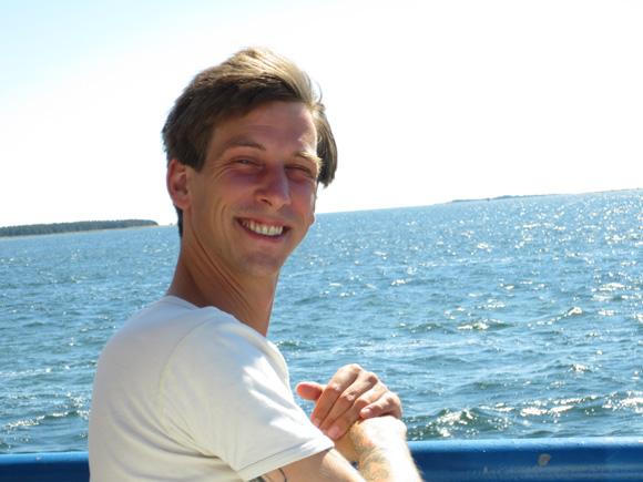 Bj�rn Kleinhenz on the ferry to F�r�sund